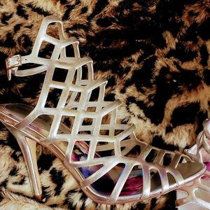 Madden Girl silver strappy gladiator heels